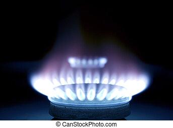 blu, fiamme, di, gas