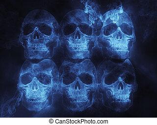 blu, fiammeggiante, crani