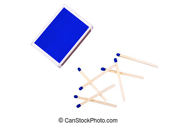 blu, fiammiferi, sfondo bianco