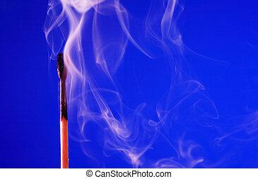 blu, fiammifero, estinto
