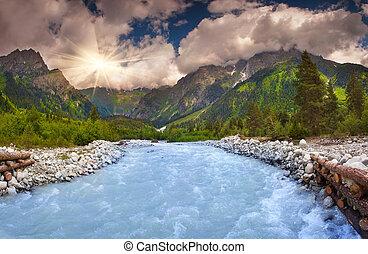 blu, fiume, in, il, caucasus, montagne