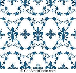 blu, fleur-de-lis, reale, seamless, struttura, vettore