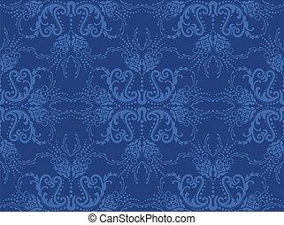 blu, floreale, carta da parati, seamless