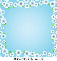 blu, floreale, cornice