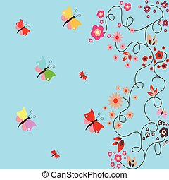 blu, floreale, farfalle, scheda