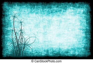blu, floreale, grunge, fondo