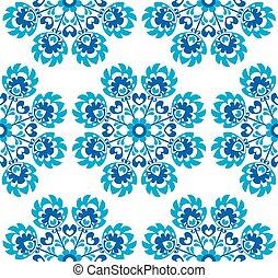 blu, floreale, polacco, seamless, modello