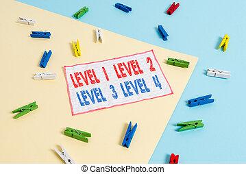 blu, flusso, promemoria, fondo., lavoro, processo, 1, esposizione, scrittura, 4., molletta, livello, passi, 3, 2, giallo, colorato, concettuale, testo, carta, foto, mano, affari, livelli