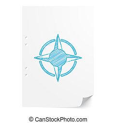 blu, foglio, spazio, rosa, illustrazione, carta, bussola, handdrawn, bianco, copia