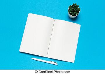 blu, fondo., carta quaderno, vuoto