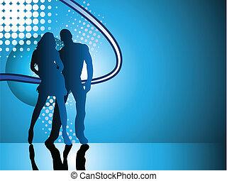 blu, fondo., coppia, silhouette, sexy