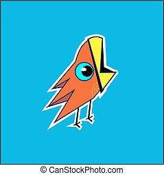 blu, fondo., uccello