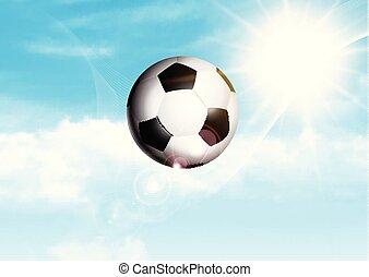 blu, football, soleggiato, volare, cielo, attraverso, calcio, o