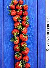 blu, fragole fresche, organico, fondo