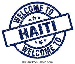 blu, francobollo, haiti, benvenuto