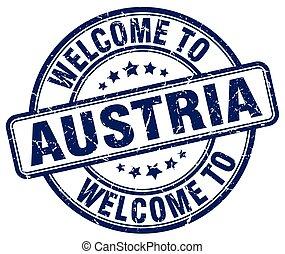 blu, francobollo, vendemmia, benvenuto, austria, rotondo