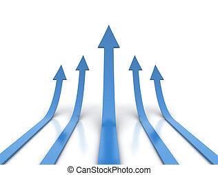 blu, frecce, -, concorrenza, illustrazione, concettuale
