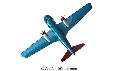 blu, fresco, aereo giocattolo