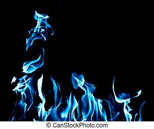 blu, fuoco, fiamma, sfondo nero