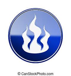 blu, fuoco, isolato, lucido, fondo, bianco, icona