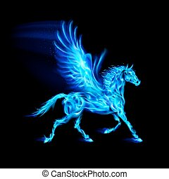 blu, fuoco, pegasus.