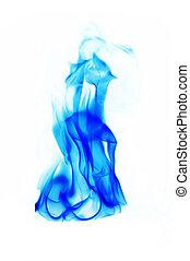 blu, fuoco, sfondo bianco, fiamme