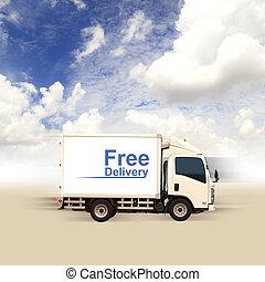 blu, furgone, cielo, libero, consegna, bianco