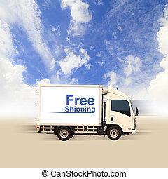 blu, furgone, cielo, libero, spedizione marittima, bianco
