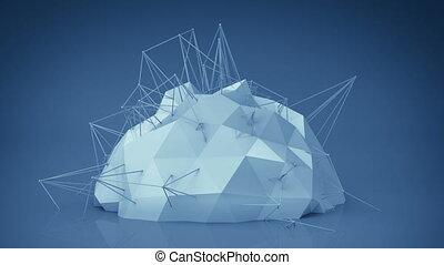 blu, futuristico, rete, forma., astratto, 3d, render, animazione, cappio