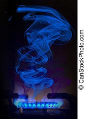 blu, gas naturale, dietro, fiamma, fondo, nero, fornace