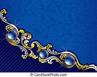 blu, gemme, oro, elegante, fondo, orizzontale