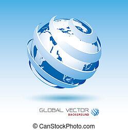 blu, globale, vettore, fondo