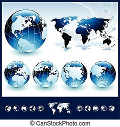 blu, globi, con, mappa mondo
