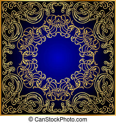 blu, gold(en), ornamento, turno, sfondo nero