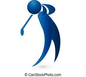 blu, golf, figura, immagine, giocatore, vettore, logotipo, ...