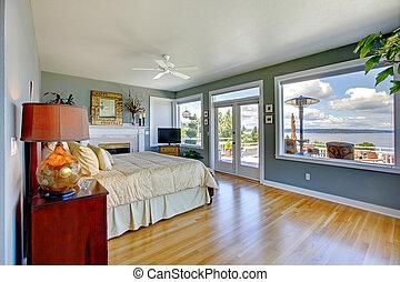blu, grande, acqua, luminoso, lusso, camera letto, interno, vista.