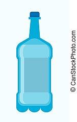 blu, grande, bottiglia di plastica, water., fresco, potable