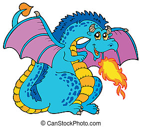 blu, grande, fuoco, drago