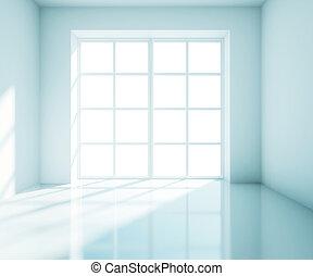blu, grande, stanza