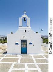 blu, greco, cielo, isolato, cappella
