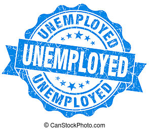 blu, grunge, disoccupato, isolato, sigillo, bianco