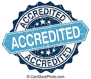 blu, grunge, francobollo, accredited, bianco, rotondo