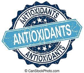 blu, grunge, francobollo, bianco, antiossidanti, rotondo