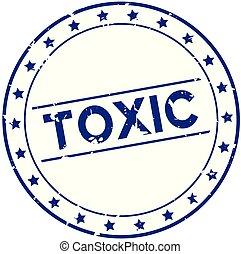 blu, grunge, francobollo, gomma, fondo, sigillo, tossico, parola, bianco, rotondo