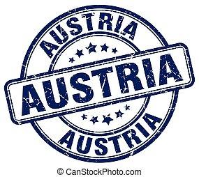 blu, grunge, francobollo, vendemmia, gomma, austria, rotondo
