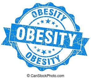 blu, grunge, isolato, sigillo, obesità, bianco