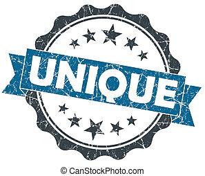 blu, grunge, vendemmia, isolato, sigillo, bianco, unico