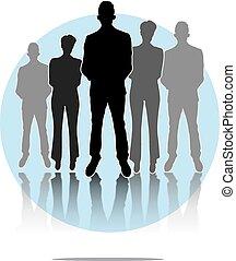 blu, gruppo, affari, luce, uomini, illustrazione, fondo, cerchio, donne