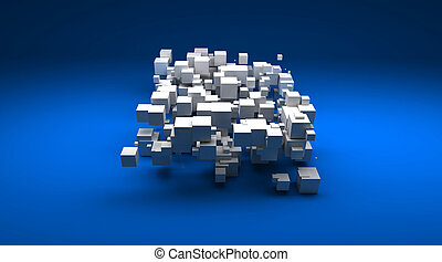 blu, gruppo, cubico, contro, particelle, fondo, bianco