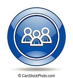 blu, gruppo, vettore, lucido, rotondo, icona